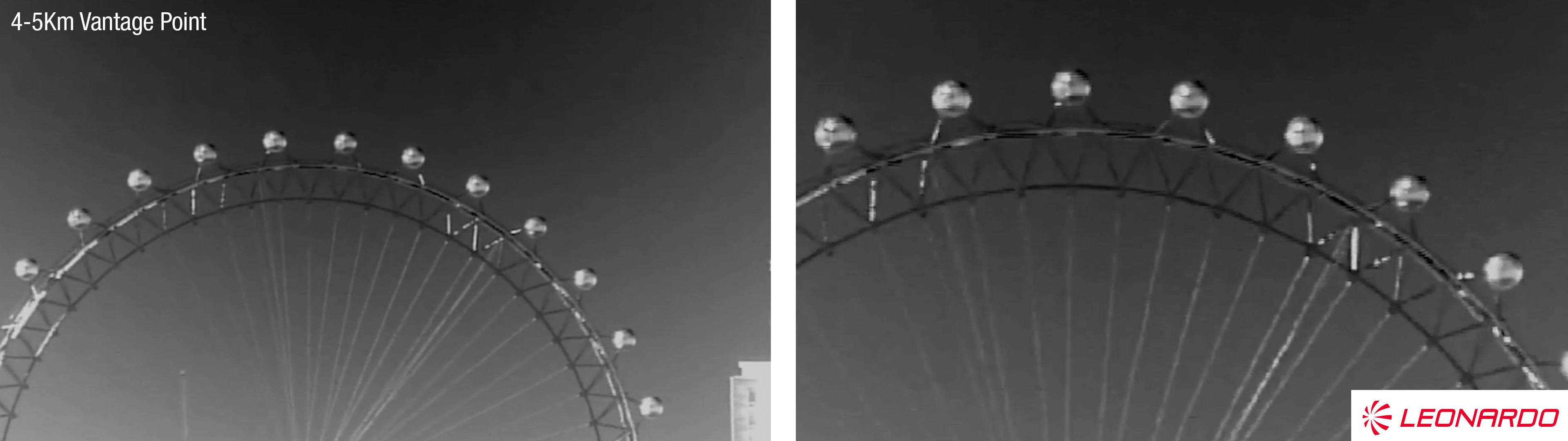 zoomed in thermal imaging of the london eye with leonardo thermal imaging camera